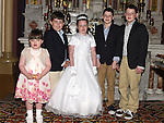 Kate McDonnell from St Oliver's school who received her first holy communion at St Peters chuch pictured with sister Jane and cousins Eoin, Conor and Alex Reynolds. Photo:Colin Bell/pressphotos.ie