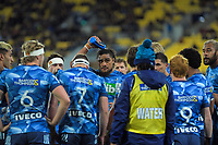 The Blues huddle during the Super Rugby Aotearoa match between the Hurricanes and Blues at Sky Stadium in Wellington, New Zealand on Saturday, 18 July 2020. Photo: Dave Lintott / lintottphoto.co.nz