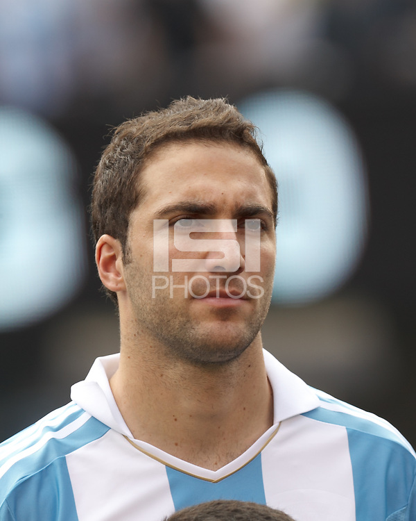 Argentina forward  Gonzalo Higuain (9). In an international friendly (Clash of Titans), Argentina defeated Brazil, 4-3, at MetLife Stadium on June 9, 2012.