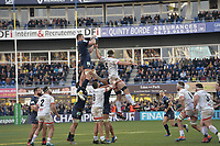 11th January 2020, Parc des Sports Marcel Michelin, Clermont-Ferrand, Auvergne-Rhône-Alpes, France; European Champions Cup Rugby Union, ASM Clermont versus Ulster;  Paul Jedrasiak (asm) wins line out ball from Iain Henderson (ulster)