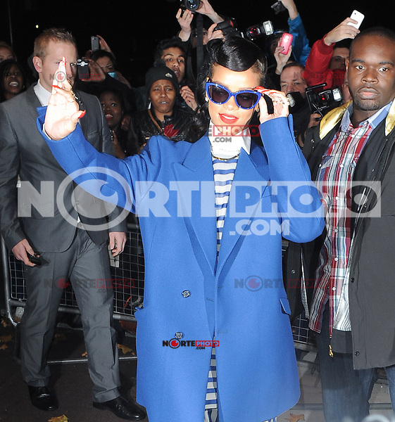 Rihanna seen leaving her hotel before she's due to switch the christmas lights on at Westfield shopping centre Stratford, London, UK 19/11/2012.<br />