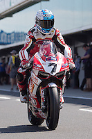 Carlos Checa (ESP) riding the Ducati Panigale 1199R (7) of the Team Ducati Alstare leaving the pits for a practise session on day one of round one of the 2013 FIM World Superbike Championship at Phillip Island, Australia.