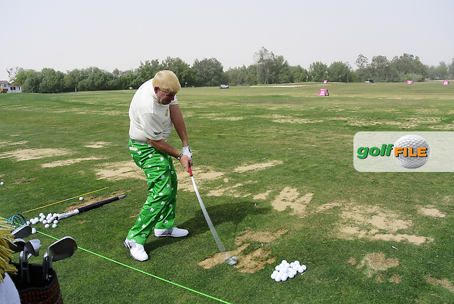 John Daly (USA) on the driving range during Wednesday's Pro-Am of the 2012 Commercialbank Qatar Masters presented by Dolphin Energy at Doha Golf Club, Qatar, 1st February 2012 (Photo Eoin Clarke/www.golffile.ie)