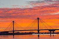 63895-15602 Clark Bridge at sunrise over Mississippi River Alton, IL