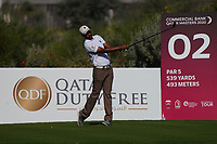 Ali Al-Shahrani (QAT)(AM) on the 2nd during Round 1 of the Commercial Bank Qatar Masters 2020 at the Education City Golf Club, Doha, Qatar . 05/03/2020<br /> Picture: Golffile | Thos Caffrey<br /> <br /> <br /> All photo usage must carry mandatory copyright credit (© Golffile | Thos Caffrey)