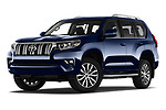 Stock pictures of low aggressive front three quarter view of 2018 Toyota Land-Cruiser-150 Lounge 5 Door SUV Low Aggressive