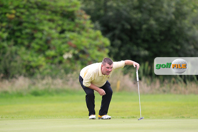 Ger Foley (Newcastle West) on the 13th green during the Final round of the Munster section of the AIG Pierce Purcell Shield at East Clare Golf Club on Sunday 19th July 2015.<br /> Picture:  Golffile | Thos Caffrey