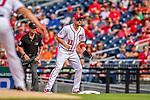 22 September 2018: Washington Nationals first baseman Ryan Zimmerman in action against the New York Mets at Nationals Park in Washington, DC. The Nationals shut out the Mets 6-0 in the 3rd game of their 4-game series. Mandatory Credit: Ed Wolfstein Photo *** RAW (NEF) Image File Available ***
