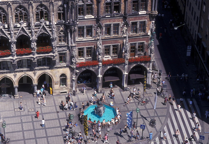 aerial, Munich, Germany, Bavaria, Munchen, Europe, Aerial view of Marienplatz and Neues Rathaus in downtown Munich.