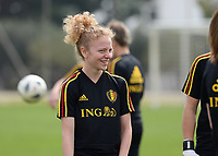 20180304 - LARNACA , CYPRUS :  Belgian Charlotte Tison pictured during a Matchday -1 training from The Belgian Red Flames prior to their game against Austria , on Sunday 4 March 2018 at the Alpha Sports Grounds in Larnaca , Cyprus . This will be the third game in group B for Belgium during the Cyprus Womens Cup , a prestigious women soccer tournament as a preparation on the World Cup 2019 qualification duels. PHOTO SPORTPIX.BE | DAVID CATRY