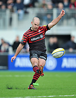Charlie Hodgson kicks for the posts. Aviva Premiership match, between Saracens and London Welsh on March 3, 2013 at Allianz Park in London, England. Photo by: Patrick Khachfe / Onside Images