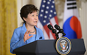 President Park Geun-hye of the Republic of Korea speaks during a joint press conference with United States President Barack Obama in the East Room of the White House October 16 2015 in Washington, DC. Photo by Olivier Douliery/ABACA<br /> Credit: Olivier Douliery / Pool via CNP