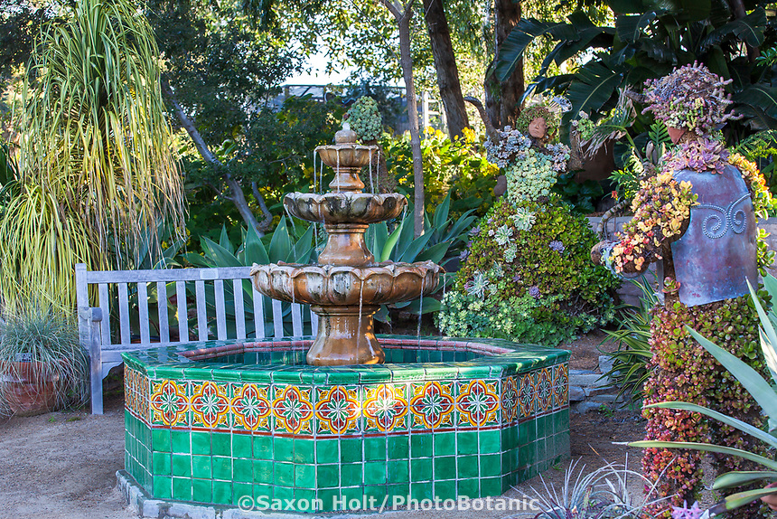 Fountain and whimsical succulent sculptures at San Diego Botanic Garden