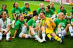01.05.2019, RheinEnergie Stadion , Köln, GER, DFB Pokalfinale der Frauen, VfL Wolfsburg vs SC Freiburg, DFB REGULATIONS PROHIBIT ANY USE OF PHOTOGRAPHS AS IMAGE SEQUENCES AND/OR QUASI-VIDEO<br /> <br /> im Bild | picture shows:<br /> Ella Masar McLeod (VfL Wolfsburg #30) mit dem Pokal in der Hand, <br /> <br /> Foto © nordphoto / Rauch