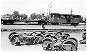 Narrow gauge trucks in Alamosa yard.<br /> D&amp;RGW  Alamosa, CO  Taken by Berkstresser, George - 8/1967