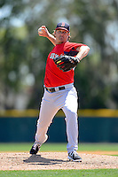 Boston Red Sox pitcher Steven Wright #67 delivers a pitch during a minor league Spring Training game against the Baltimore Orioles at Buck O'Neil Complex on March 25, 2013 in Sarasota, Florida.  (Mike Janes/Four Seam Images)