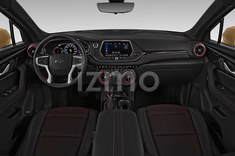 Stock photo of straight dashboard view of 2019 Chevrolet Blazer RS 5 Door SUV Dashboard