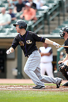 Louisville Bats third baseman Todd Frazier #50 hits a home run during a game against the Rochester Red Wings at Frontier Field on May 12, 2011 in Rochester, New York.  Louisville defeated Rochester 5-2.  Photo By Mike Janes/Four Seam Images