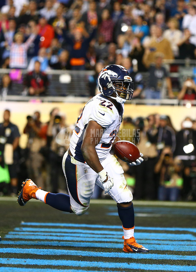 Feb 7, 2016; Santa Clara, CA, USA; Denver Broncos running back C.J. Anderson (22) celebrates after scoring a fourth quarter touchdown against the Carolina Panthers in Super Bowl 50 at Levi's Stadium. Mandatory Credit: Mark J. Rebilas-USA TODAY Sports