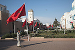 Red flags in the streets to mark visit of the king, Essaouira, Morocco