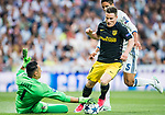 Goalkeeper Keylor Navas of Real Madrid saves an attempt by Kevin Gameiro of Atletico de Madrid during their 2016-17 UEFA Champions League Semifinals 1st leg match between Real Madrid and Atletico de Madrid at the Estadio Santiago Bernabeu on 02 May 2017 in Madrid, Spain. Photo by Diego Gonzalez Souto / Power Sport Images