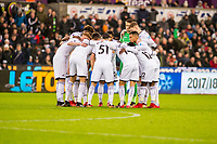 swansea pre match huddle during the Premier League match between Swansea City and Crystal Palace at The Liberty Stadium, Swansea, Wales, UK. Saturday 23 December 2017