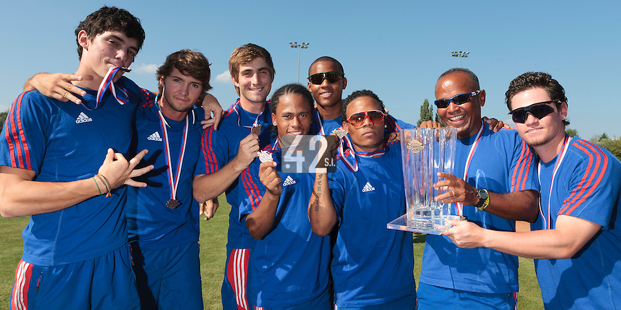 22 August 2010: Maxime Charlot, Jonathan Dechelle, Thomas Dourlens, Edison Garcia Martinez, Andy Paz, Gary Garcia Martinez, Gerardo Leroux, Jorge Hereaud pose with the trophy at the 2010 European Championship, under 21, in Brno, Czech Republic.