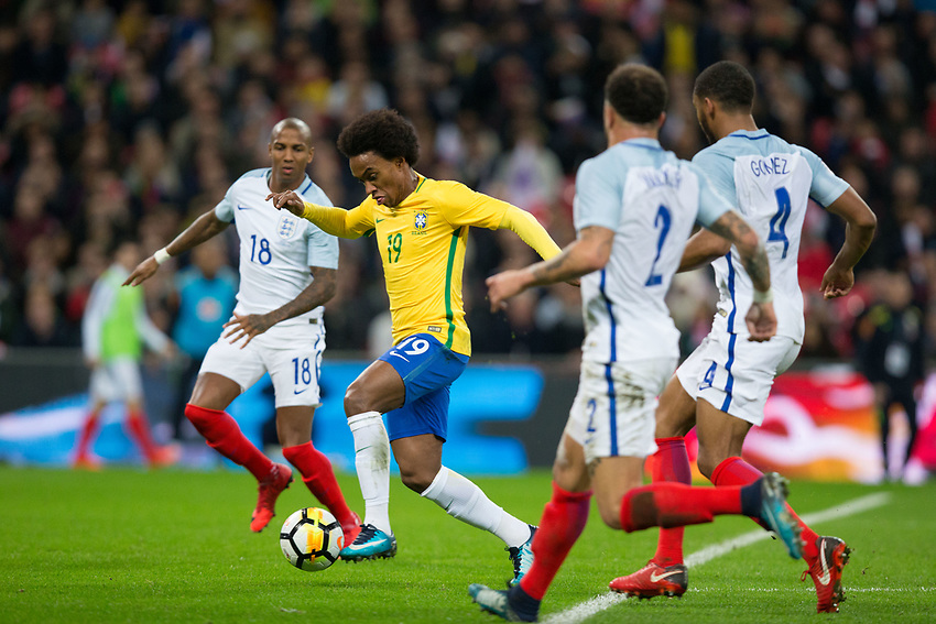 Brazil&rsquo;s Willian in action <br /> <br /> Photographer Craig Mercer/CameraSport<br /> <br /> The Bobby Moore Fund International - England v Brazil - Tuesday 14th November 2017 Wembley Stadium - London  <br /> <br /> World Copyright &copy; 2017 CameraSport. All rights reserved. 43 Linden Ave. Countesthorpe. Leicester. England. LE8 5PG - Tel: +44 (0) 116 277 4147 - admin@camerasport.com - www.camerasport.com