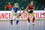 Leipzig, Germany, February 08: during the women bronze medal match between Austria (red) and Czech Republic (blue) on February 8, 2015 at the FIH Indoor Hockey World Cup at Arena Leipzig in Leipzig, Germany. Final score 0-2 after shoot out (0-0). (Photo by Dirk Markgraf / www.265-images.com) *** Local caption *** Katerina Lacina #12 of Czech Republic, Stefanie Podpera #18 of Austria