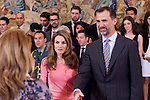 Prince Felipe of Spain and Princess Letizia of Spain receive the participants of the I edition of the course for young iberoamerican journalists and the XI edition of the Young Iberoamerican Leaders Program during the audience in Zarzuela Palace, in Madrid, Spain. July 11, 2012. (Victor J Blanco/Alterphotos)