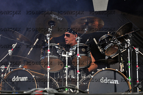 Queensryche - drummer Scott Rockenfield - performing live on the main stage on Day One of the High Voltage Festival in London UK - 23 Jul 2011.  Photo credit: George Chin/IconicPix