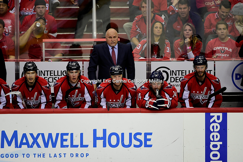 Friday, April 22, 2016: Washington Capitals head coach Barry Trotz watches game action during game 5 of the first round of the National Hockey League Eastern Conference playoffs  between the Philadelphia Flyers and the Washington Capitals held at the Verizon Center in Washington, DC. The Flyers defeat the Capitals 2-0. Eric Canha/CSM