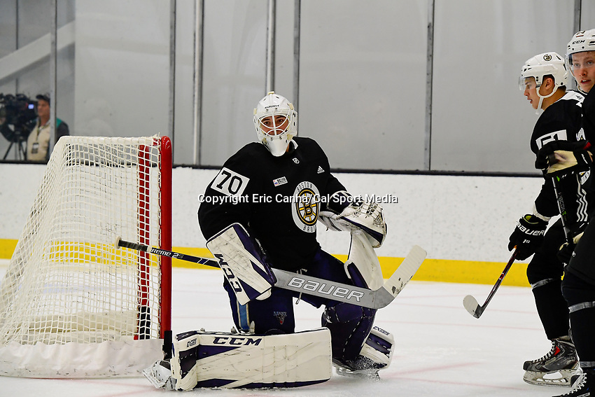June 28, 2018: Boston Bruins goalie Jeremy Swayman (70) plays at the net during the Boston Bruins development camp held at Warrior Ice Arena in Brighton Mass. Eric Canha/CSM
