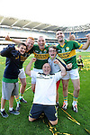 Kerry players Johnny Buckley, Kieran Donaghy and Bryan SHeahan celebrate after winning the All-Ireland Football Final against Donegal in Croke Park 2014.<br /> Photo: Don MacMonagle<br /> <br /> <br /> Photo: Don MacMonagle <br /> e: info@macmonagle.com