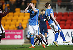 St Johnstone v Hearts..19.12.15  SPFL  McDiarmid Park, Perth<br /> Steven MacLean holds his head after he blasted his penalty over the bar<br /> Picture by Graeme Hart.<br /> Copyright Perthshire Picture Agency<br /> Tel: 01738 623350  Mobile: 07990 594431