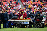 Landover, MD - November 18, 2018: Washington Redskins quarterback Alex Smith (11) is helped onto the cart after breaking his leg during game between the Houston Texans and the Washington Redskins at FedEx Field in Landover, MD. The Texans defeated the Redskins 23-21. (Photo by Phillip Peters/Media Images International)