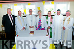 Bishop Ray Browne   celebrate a Centenary  Mass at the Austin Stack's Club in Connolly Park on  Tuesday. Pictured  Chairman of Austin Stacks Liam Lynch, Fr Padraig Walsh, Bishop Ray Browne, Vice Chairperson Mairead Fernane, Fr Niall Geaney ,  Fr Kieran O'Brien and Dean Sean Hanafin