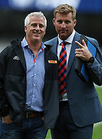 DURBAN, SOUTH AFRICA - MAY 27: Robbie Fleck (Head Coach) of the DHL Stormers with AJ Venter Supersport rugby commentator during the Super Rugby match between Cell C Sharks and DHL Stormers at Growthpoint Kings Park on May 27, 2017 in Durban, South Africa. Photo by Steve Haag / stevehaagsports.com