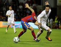 """fecha:05-09-2011 En Lugo en el """"Anxo Carro"""" partido de clasificacion para la Eurocopa Sub-21. España Sub-21- Georgia. En la imagen el numero 2 Hugo Mallo. Foto: EFE/eliseo trigo"""