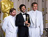 "ZACH GALIFIANAKIS, BRET McKENZIE AND WILL FERRELL.McKenzie won the Best Original Song at the 84th Academy Awards, Kodak Theatre, Hollywood, Los Angeles_26/02/2012.Mandatory Photo Credit: ©Dias/Newspix International..**ALL FEES PAYABLE TO: ""NEWSPIX INTERNATIONAL""**..PHOTO CREDIT MANDATORY!!: NEWSPIX INTERNATIONAL(Failure to credit will incur a surcharge of 100% of reproduction fees)..IMMEDIATE CONFIRMATION OF USAGE REQUIRED:.Newspix International, 31 Chinnery Hill, Bishop's Stortford, ENGLAND CM23 3PS.Tel:+441279 324672  ; Fax: +441279656877.Mobile:  0777568 1153.e-mail: info@newspixinternational.co.uk"