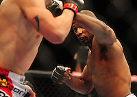 Oct. 29, 2011; Las Vegas, NV, USA; UFC fighter Clifford Starks during a middleweight bout during UFC 137 at the Mandalay Bay event center. Mandatory Credit: Mark J. Rebilas-
