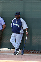 Lloyd McClendon (manager) of the Seattle Mariners observes the first day of spring training workouts at the Mariners complex on February 13, 2014 in Peoria, Arizona (Bill Mitchell)