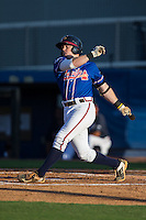 Matt Gonzalez (1) of the Danville Braves follows through on his swing against the Kingsport Mets at American Legion Post 325 Field on July 9, 2016 in Danville, Virginia.  The Mets defeated the Braves 10-8.  (Brian Westerholt/Four Seam Images)