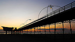 Southport - pier, beach, waterfront, gasometer, Marine Way Bridge, sunset
