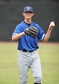 July 14th, 2007:  Zach Britton of the Aberdeen Ironbirds, Class-A Short-Season affiliate of the Baltimore Orioles, throws in the outfield before a game vs the Jamestown Jammers in New York-Penn League action.  Photo Copyright Mike Janes Photography 2007.