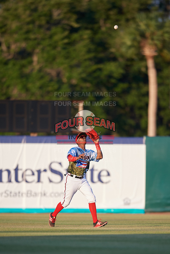 Florida Fire Frogs center fielder Cristian Pache (25) settles under a pop up during a game against the St. Lucie Mets on April 19, 2018 at Osceola County Stadium in Kissimmee, Florida.  St. Lucie defeated Florida 3-2.  (Mike Janes/Four Seam Images)