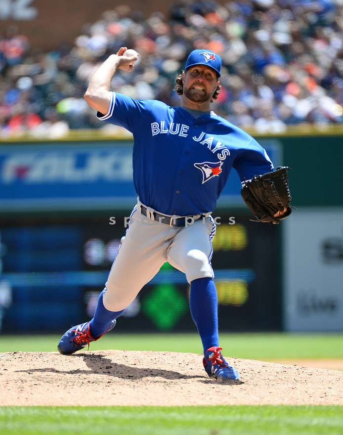Toronto Blue Jays R.A. Dickey (43) during a game against the Detroit Tigers on June 8, 2016 at Comerica Park in Detroit MI. The Blue Jays beat the Tigers 7-2.