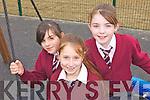 SWINGS: Enjoying the swings at the new Lyreacrompane playground on Friday morning were l-r: Eileen Valentine, Lucy Jane O'Regan, Rachel Murphy.