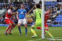 Fleetwood Town's Ashley Eastham wheels away after scoring his sides second goal <br /> <br /> Photographer David Shipman/CameraSport<br /> <br /> The EFL Sky Bet League One - Peterborough United v Fleetwood Town - Friday 14th April 2016 - ABAX Stadium  - Peterborough<br /> <br /> World Copyright &copy; 2017 CameraSport. All rights reserved. 43 Linden Ave. Countesthorpe. Leicester. England. LE8 5PG - Tel: +44 (0) 116 277 4147 - admin@camerasport.com - www.camerasport.com