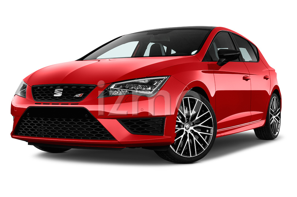 Stock pictures of low aggressive front three quarter view of 2016 Seat Leon CUPRA 280 5 Door Hatchback Low Aggressive
